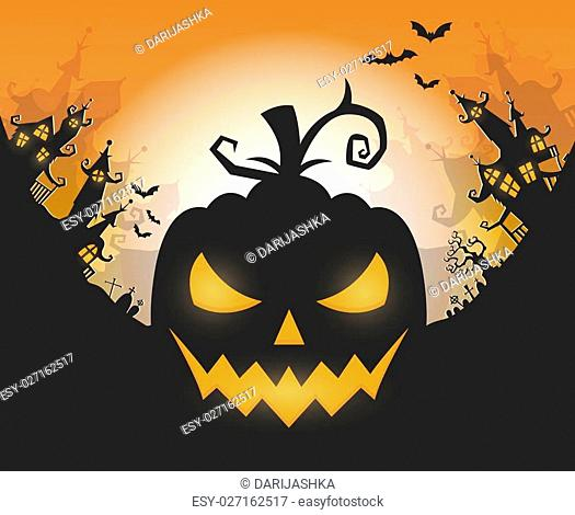 Vector Halloween night background with pumpkins scary face and creepy city. Perfect for greeting card, flyer, banner, poster templates and invitations