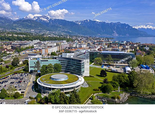 Headquarters of the Swiss multinational food and drink company Nestle S. A. at Lac Leman, Vevey, Switzerland