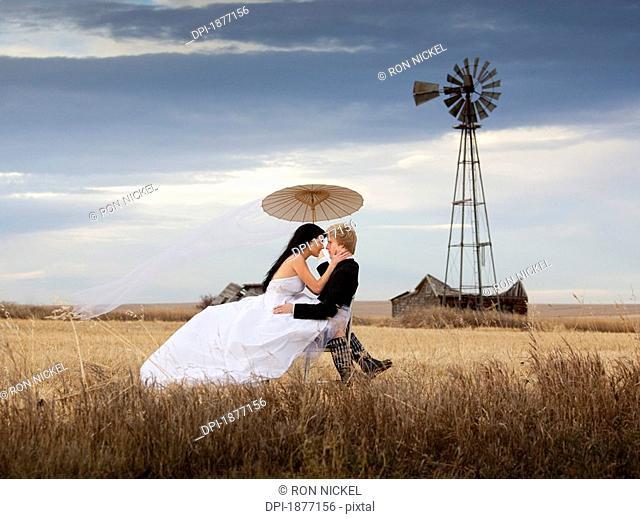 three hills, alberta, canada, a bride and groom in a farm field