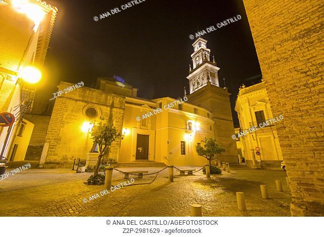 Church of Santa Maria de la Asuncion by night Carmona, Spain