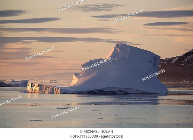 Icebergs and bergy bits floating in the Weddell Sea in and around the Antarctic Peninsula during the summer months