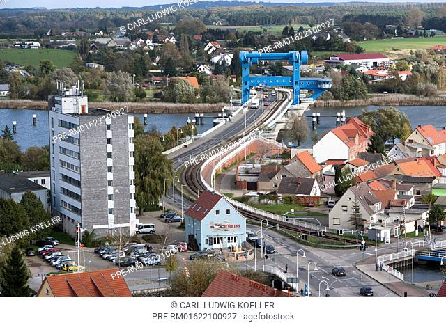 Aerial view, Wolgast, Vorpommern-Greifswald district, Mecklenburg-Vorpommern, Germany / Luftaufnahme, Wolgast, Landkreis Vorpommern-Greifswald