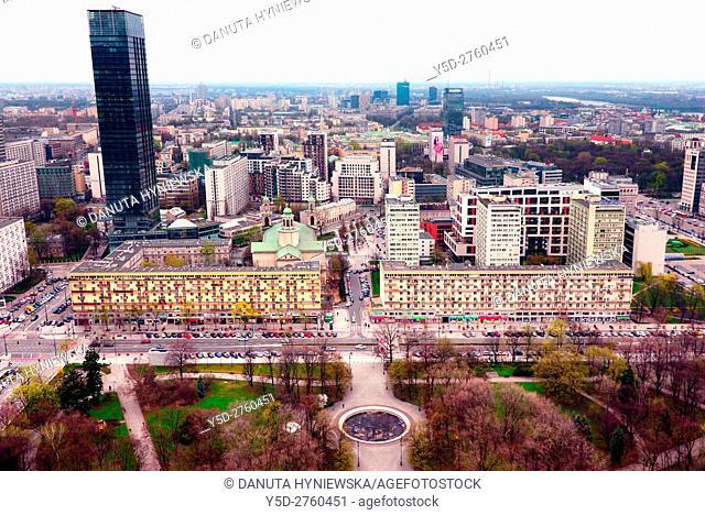 Panoramic view of city center of Warsaw, in front Park Swietokrzyski and Swietorzyska street, skyscraper in left up corner - Cosmopolitan Twarda 2/4