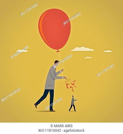 Large businessman bursting balloon of smaller businessman