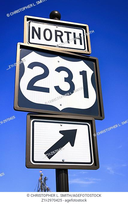 North 231 road sign in downtown Lebanon Tennessee, USA