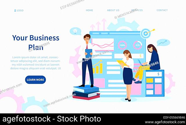 Business Plan concept with businesspeople in front of business charts and signs, colored vector illustration with copy space