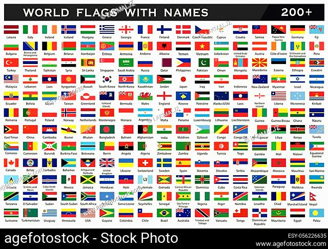 World Flag Collection. World Flag with counties names. World Flag Collection in white background drawing by illustration