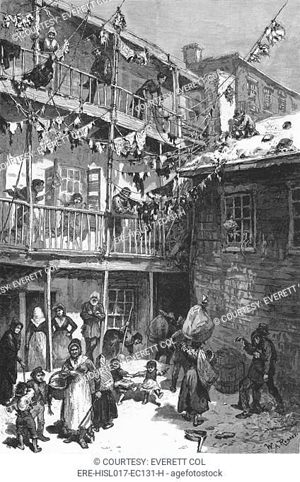 Rag Picker's court, Mulberry Street, 1879. Many poor immigrants started at the bottom of the economic ladder, as rag pickers
