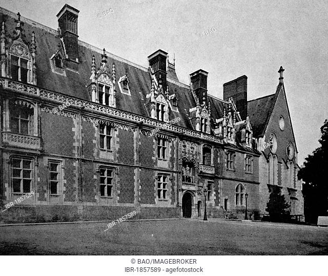 One of the first autotypes of Château de Blois, France, historical photograph, 1884