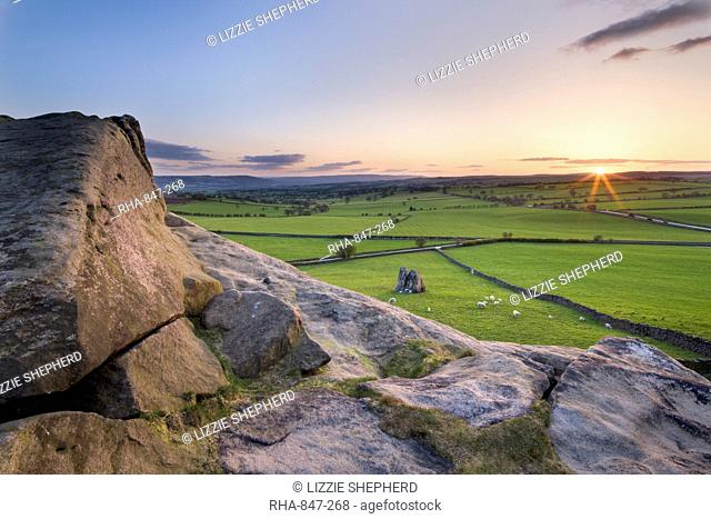 Sunset from the top of Almscliff Crag in Spring, North Yorkshire, Yorkshire, England, United Kingdom, Europe
