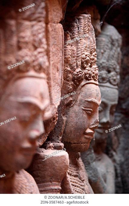Sandstone carvings at Angkor, Cambodia