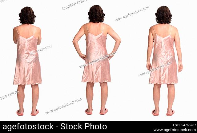 various photos of the same woman with nightgown on white background, rear view