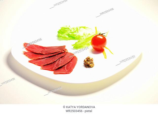 Sliced pastirma, air dried meat