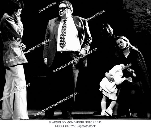 Tino Buazzelli, Massimo De Francovich, Rita di Lernia and Stefania Casini in Sei personaggi in cerca d'autore. Italian actors Tino Buazzelli and Massimo De...