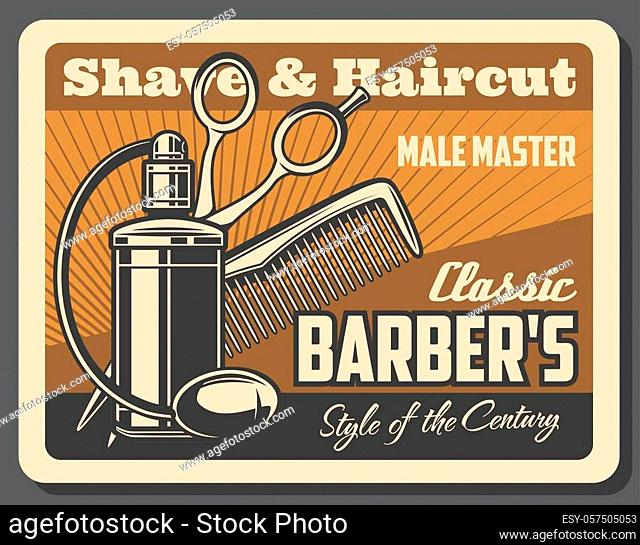 Barbershop, shave and haircut service vector design. Hair, beard or mustache shaving and styling, scissors, comb and bottle of cologne with bulb atomizer