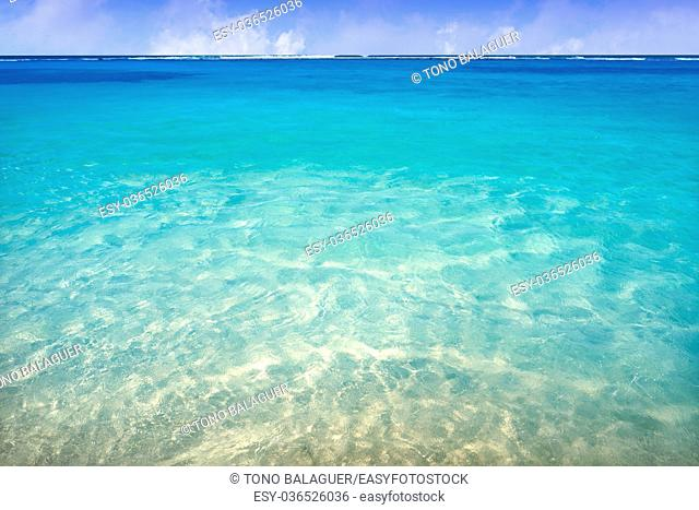 Caribbean tropical beach turquoise water texture in Mexico