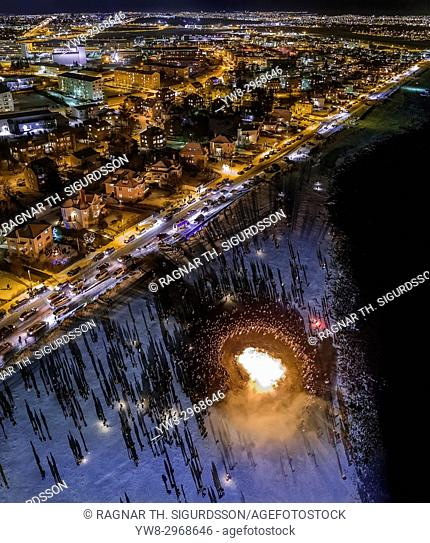 New Year's Eve Celebration. Bonfires and fireworks on New Year's is an annual event, Reykjavik, Iceland. This image is shot with a drone