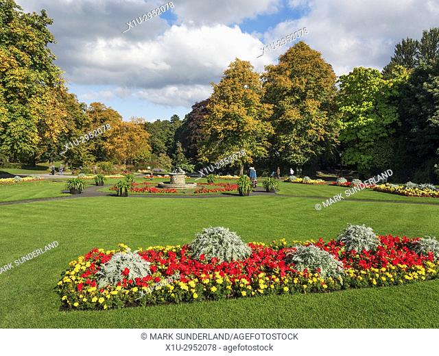 Flowerbeds in Valley Gardens in Early Autumn Harrogate North Yorkshire England