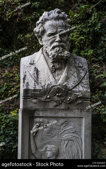 Telephoto of bust of Italian poet Giosuè Carducci (1835-1907). Carducci was the first Italian recipient of the Nobel Prize in Literature