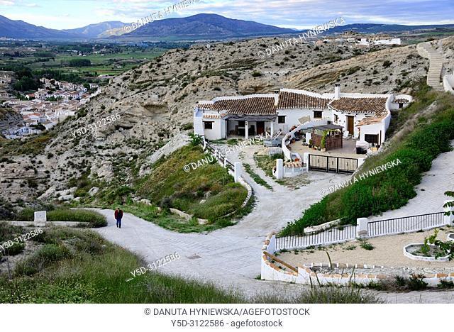 Cavehouses in the city of Galera near Baza, view in direction of Sierra de Castril, Altiplano region of Granada, Granada High Plains, Granada province
