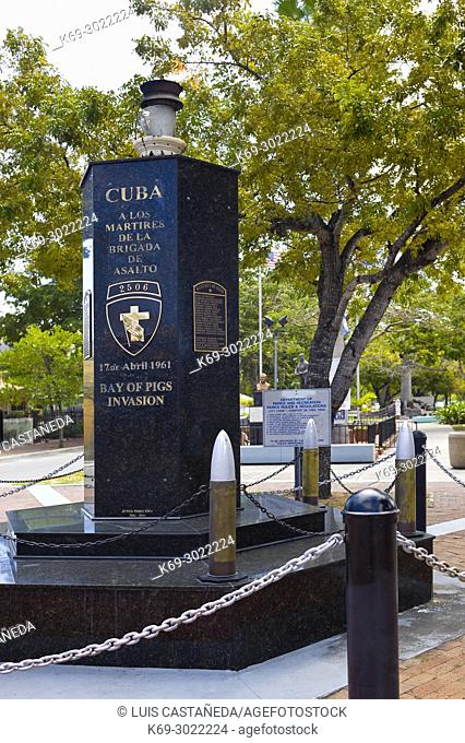 Monument to the Bay of Pigs Invasion. Calle Ocho. Miami. Florida. USA. Sitting inside of a small median in the Little Havana area of Miami is the Cuban Memorial...