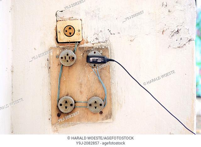 Brazil, Bahia, Lencois: Quite typical house electrics