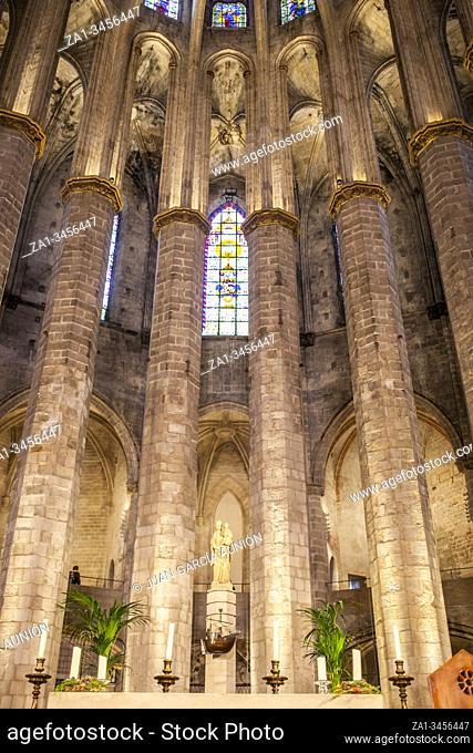 Barcelona, Spain - Dec 29th 2019: Altar of Gothic Basilica of Santa Maria del Mar, Barcelona, Spain. Indoors
