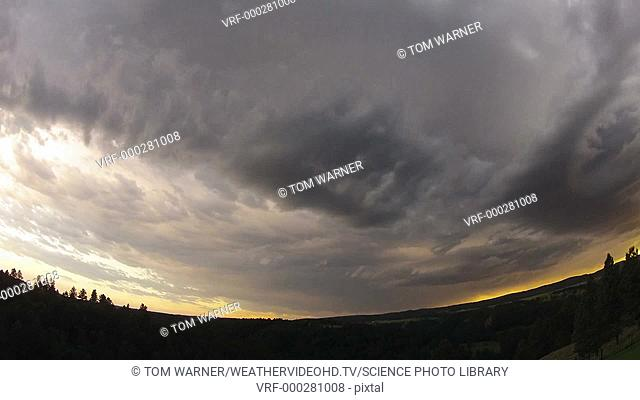 Timelapse wide angle footage of a developing thunderstorm, from below. Filmed in South Dakota, USA, in summer