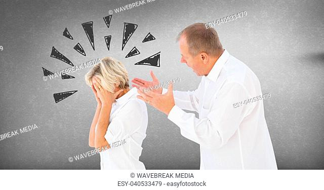 Couple arguing and fighting with triangle doodles on grey background