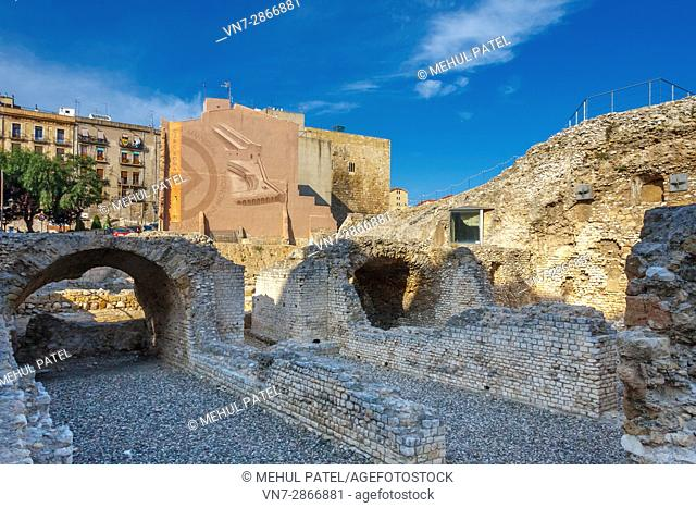 Circo Romano (Circ Roma in Catalan) in the old town of Tarragona, Catalonia, Spain. The Circo Romano was large open-air venue that was used for events such as...