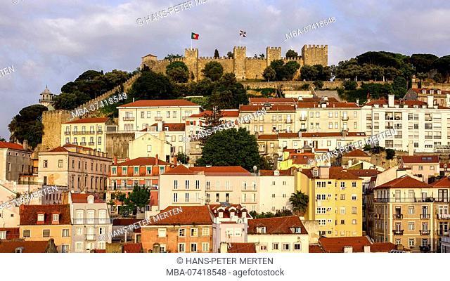 Baixa old town and castle Castelo de Sao Jorge, Lisbon, Portugal