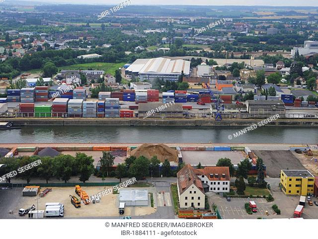 Aerial view of the container terminal at Westhafen port, Regensburg, Bavaria, Germany, Europe