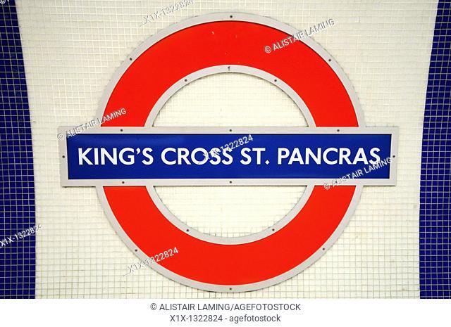 King's Cross St Pancras Underground Tube Station Symbol, London, England, UK