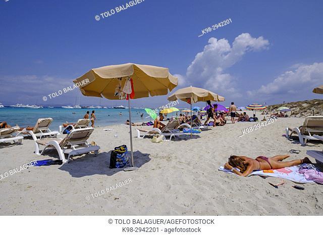 playa des Cavall, Parque natural de ses Salines de Ibiza y Formentera, Formentera, Balearic Islands, Spain