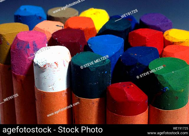 A package of colorful chalks