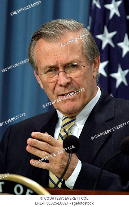 Donald H. Rumsfeld Secretary of Defense during a press briefing about Operation Iraqi Freedom the U.S. lead coalition's invasion of Iraq. April 7 2003