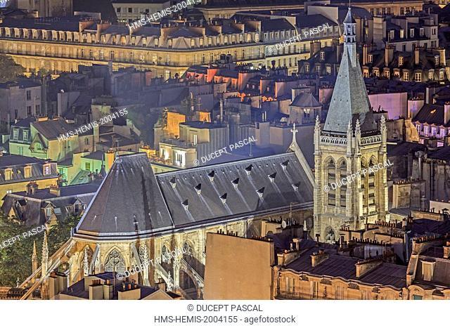 France, Paris, the Saint Severin church illuminated in the latin quarter