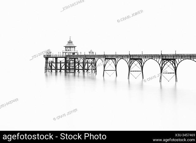 Black and white photograph of Clevedon Pier in the Severn Estuary on the North Somerset coast, England