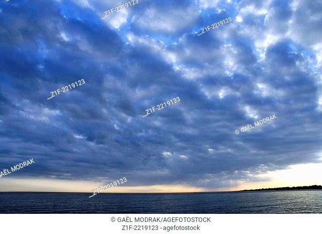 Dawn sky in Normandy, Fermanville, France