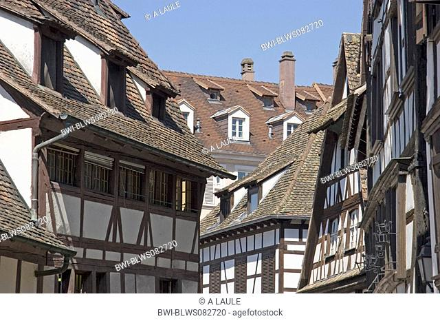 half-timbered houses in the old town, France, Alsace, Strasbourg