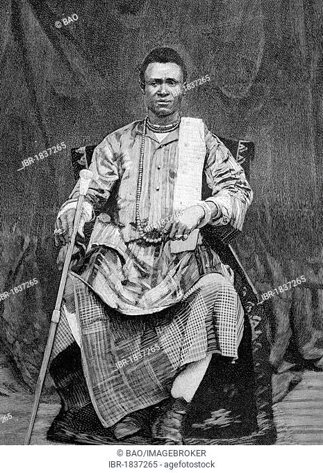 Behanzin, King of the Kingdom of Dahomey, Africa, historical illustration circa 1893