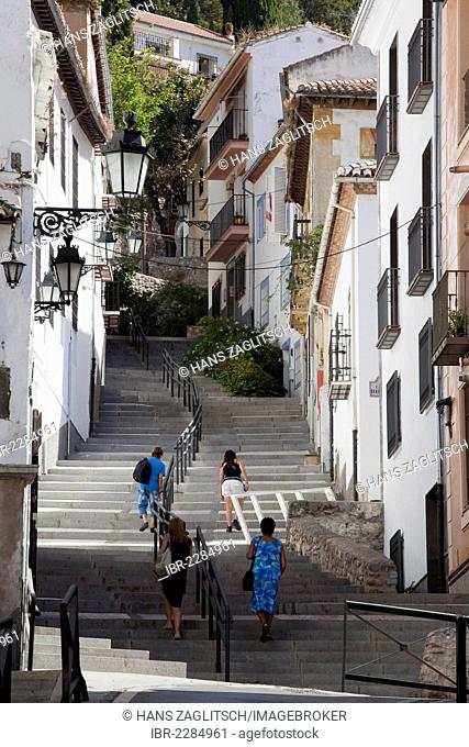Alleyway with stairs in the Realejo quarter, city of Granada, Andalusia, Spain, Europe