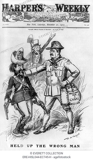 Harpers Weekly cover showing Colombia, as bandit, being halted by Theodore Roosevelt. The cartoon of Nov. 21, 1903 reflects of US public approval