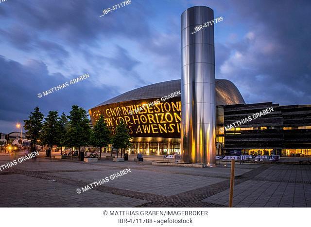 Welsh Millenium Centre, Architect Percy Thomas, Event Centre, Dusk, Cardiff, South Glamorgan, Wales, United Kingdom