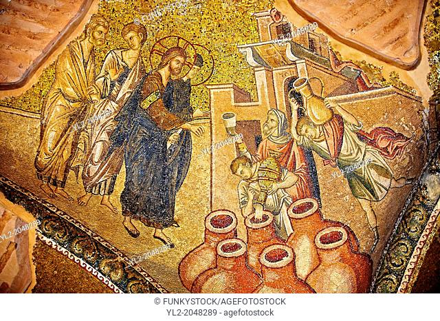 The 11th century Roman Byzantine Church of the Holy Saviour in Chora and its mosaic of the miracle of Christ turning water into wine