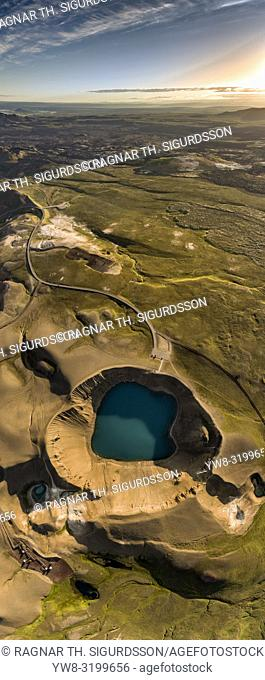 The Krafla Viti Crater, Northern Iceland. This image is shot using a drone
