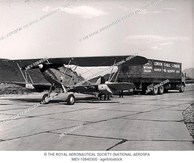 Afghan Hawker Hind being readied for transporting from Kabul to the UK in 1970 for display in the RAF Museum, Hendon