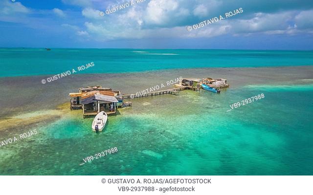 Aerial View, pile-dwelling Palafito Waterscape Archipelago los roques venezuela