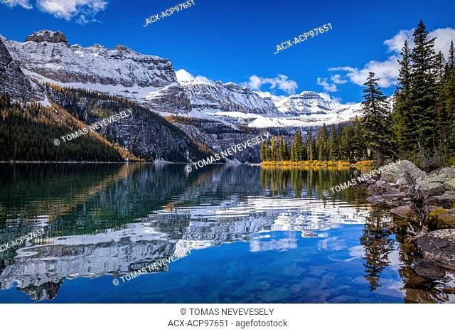Autumn at Boom Lake in Banff National Park, Alberta, Canada