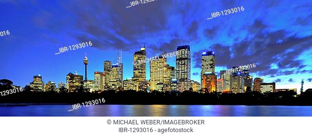Panorama of Sydney's skyline, TV Tower, Central Business District, night, Sydney, New South Wales, Australia